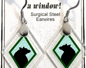 "Earrings ""Bear Silhouette (assorted colors)"" rescued, repurposed window glass~Lightening landfills one tiny glass diamond at a time!"