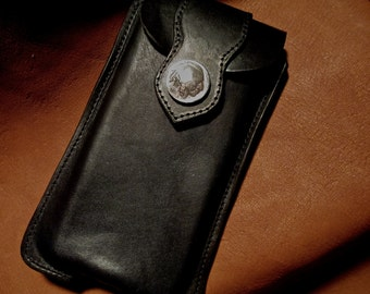 Custom Black leather cell phone case for a iPhone 5S or 5C  phone in hard case