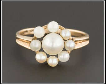 Vintage Pearl Ring | 14k Gold Pearl Ring | 14k Gold Ring | Pearl Flower Ring | June Birthstone