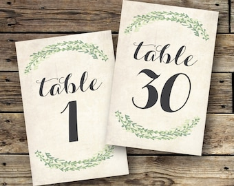 Printable Table Numbers 1-30 - The Lauren Collection - INSTANT DOWNLOAD