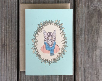 Cat Greeting Card, Cat Card, Cat Birthday Card