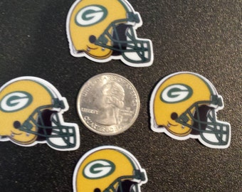Green Bay Packers Helmets Flatback Resins Cabochons Hair Bows, Ponytail holders, Scrapbooking, Cupcakes, etc.