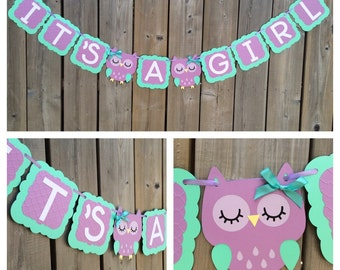 IT'S A GIRL Owl banner, baby shower decoration, gender reveal