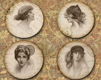 Coaster Ladies, Vintage Hats, Bridal Gift, Grandmother Gift, Senior Friend - (0036)