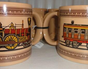 Set Of Four Vintage Train Mugs