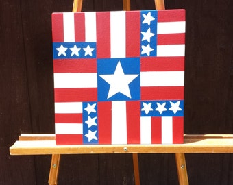 "Hooray for the Red, White and Blue!  Patriotic mini barn quilt - just 12"" x 12"""
