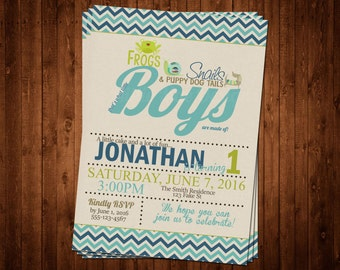 SALE 50% OFF Custom Frogs, Snails and Puppy Dog Tails Invitation