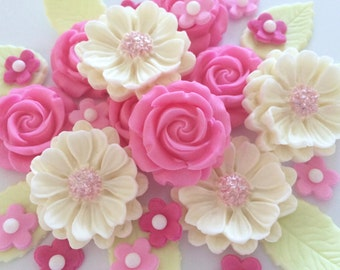 CANDY PINK ROSE Bouquet edible sugar paste flowers cupcake toppers decorations
