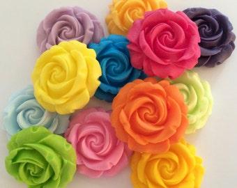 ROSE GARDEN edible sugar paste flowers cupcake toppers