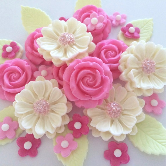 CANDY PINK ROSE bouquet edible sugar paste flowers cake