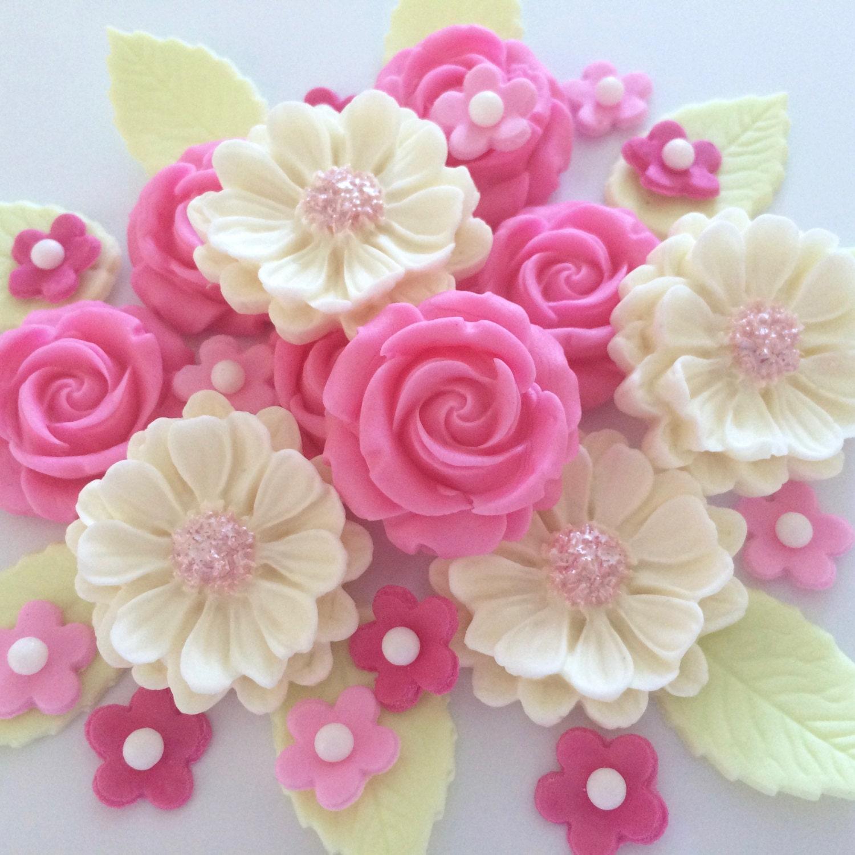 Cake Decorating Sugarpaste Flowers : CANDY PINK ROSE bouquet edible sugar paste flowers cake