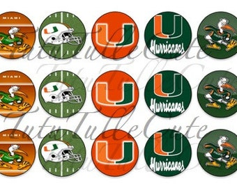 University of Miami Inspired Bottle Cap Images|College Football|Hurricanes Inspired|Instant Download