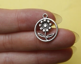 20 Flower Charms, Silver Flower Charms, Garden Charms 16mm