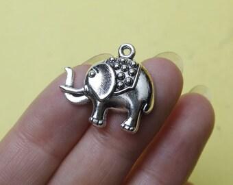Silver Elephant Charms / Pendants  lucky elephant necklace  22x24mm