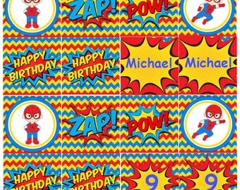 Spiderman Cupcake Toppers INSTANT DOWNLOAD Spiderman Birthday Party Cupcake Toppers Editable Text