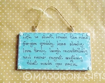 Motivational Quote Plaque Break The Rules... Positive Wall Hanging Ornament Home Decor Gift