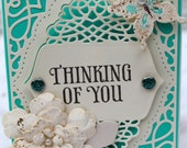 Thinking of you, OOAK card, greeting card, die cuts, cream and mint