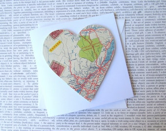 Quebec, Canada map greeting card: heart shaped card made from an original map Card for wedding, birthday, engagement, best friend, Valentine