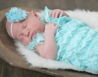 Lace Newborn Romper with matching headband