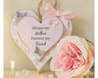 Handmade Always my Mother Forever My Friend Double Heart