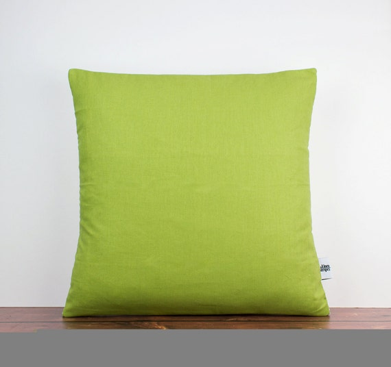 Green linen cushion cover Lime green pillow by LinenandStripes