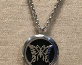 """Essential Oil Pendant Stainless Steel Diffuser Flowers and Stars, Locket with 19"""" Chain."""