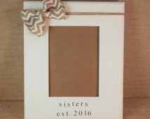 Wedding Gift For Sister Cash : wedding gift for Sister in law bridesmaid, chevron frame, sisters est ...
