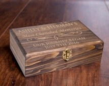 Custom Memory Box, Small Rustic Wooden Keepsake Box, Personalized Engraved Gift Box, Wedding Memory Chest, Jewelry or Cigar Box, Baby Shower
