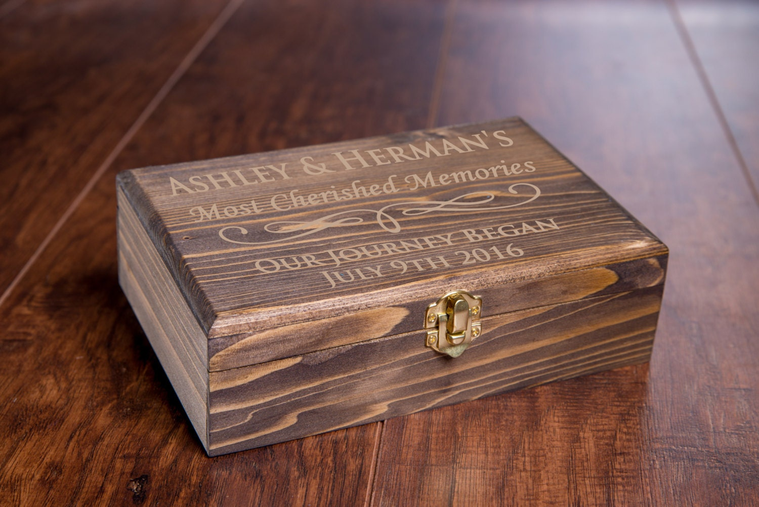 custom memory box small rustic wooden keepsake box. Black Bedroom Furniture Sets. Home Design Ideas