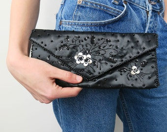 Navy Blue Satin Clutch with Beaded Floral Detail