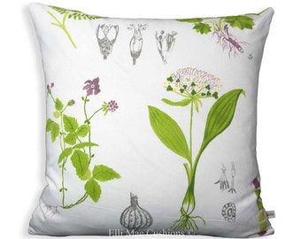 Ikea Dorothy Flowers Green White Designer Fabric Sofa Cushion Pillow Cover