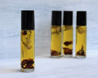 Jasmine Rose Vanilla Essential Oil Perfume Roll On All Natural Alcohol Free .33 oz. Roll On with Jasmine and Rose Flowers