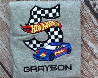 Custom embroidered race car birthday shirt