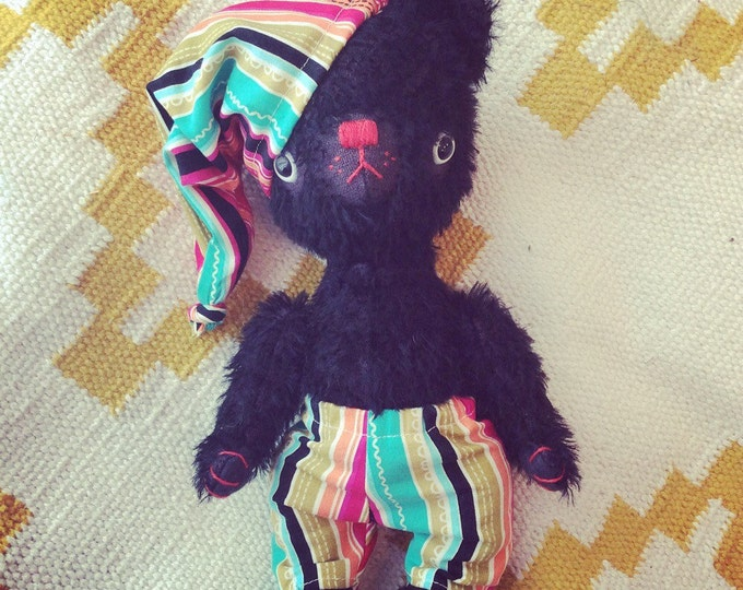 Teddy bear, black mohair teddy bear, plush, handmade stuffed animal, Waldorf toy, Ecofriendly toy, pretend play, toys, heirloom toys, kawaii