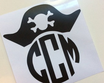 Pirate Fan Skull and Crossbones Monogrammed Decal