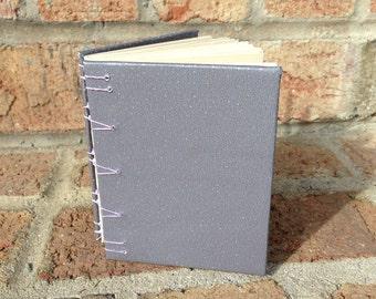 Journal: Hand Bound, Gray with Purple, Blank, 10 x 8 cm