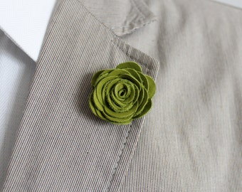 Mens Leather Lapel Pin / Boutonniere / Brooch / Flower / Green