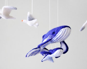 Needle Felted Whale Baby Mobile, Ocean Nursery Decor, Sea Crib Mobile,  Baby Shower Gift