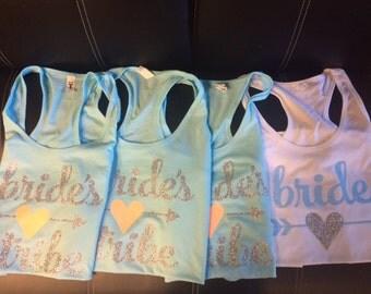 1 Bride and 3 Bride's Tribe Flowy racerback Tanks - Full Glitter