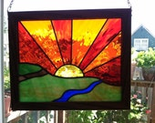 Framed Stained Glass,Stained Glass Panel,One of a Kind,Sunrise Stained Glass,Sunset Stained Glass,Greenman Organics,Window Panel,BoHo