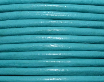 1 Yard / 36 Inches - 2mm Light Blue Leather Cord - Round leather Cord - Genuine Leather - Necklace Cord - Bracelet Cord - #LC004