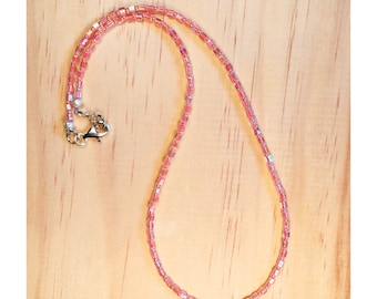 Peachy pink beaded necklace