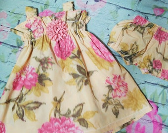 Girls Sateen Dress Set, Baby Dress , Girls Outfit, Bloomers, Flower Pattern, Baby Clothing, Fashion For Girls, Baby Outfit, Matching Set