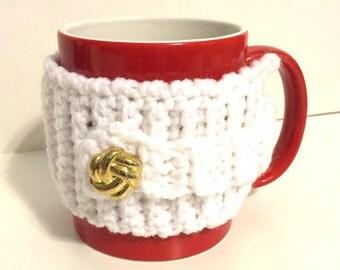 White Mug Cozy, button cozy, gold button cozy, coffee cozy, mug sweater, mug sleeve, mug insulator, crochet drink sleeve, crochet white cozy