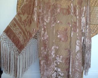 devore kimono,velvet jacket,fringe jacket,burnout jacket,devore jacket.gypsy boho,wearable art,devore kimono