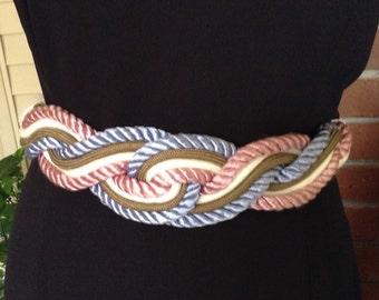 Vintage Braided Satin Rope Belt / Ivory, Pink, Blue, Green / 1980's