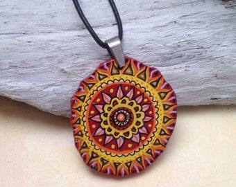 Mandala hand-painted, Boho jewelery, hand-painted wooden pendant, handpainted jewelery, pendant sun, yellow, orange, red