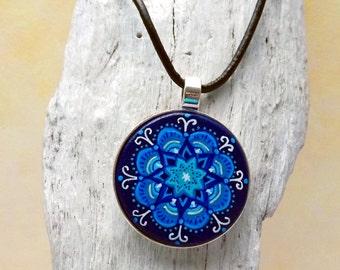 Mandala necklace blue , indian jewelry , Boho jewelry , hand-painted wooden pendant , Mandala Jewelry , ethnic jewelery , xxl Necklace