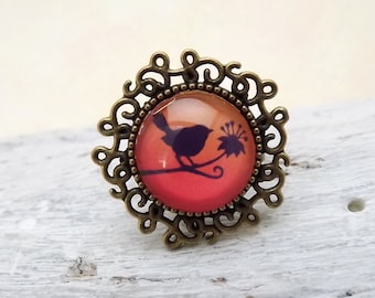 Bronze ring, cabochon ring, ring bird, ring adjustable, fashion jewelry, ring individualisable