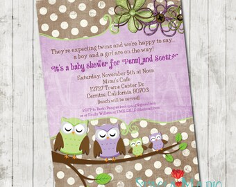 Looks Whoos Having Twins Owl Baby Shower Invite